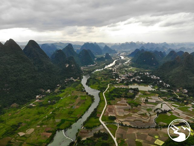 An arial view of the Yulong River in Yangshuo, China.