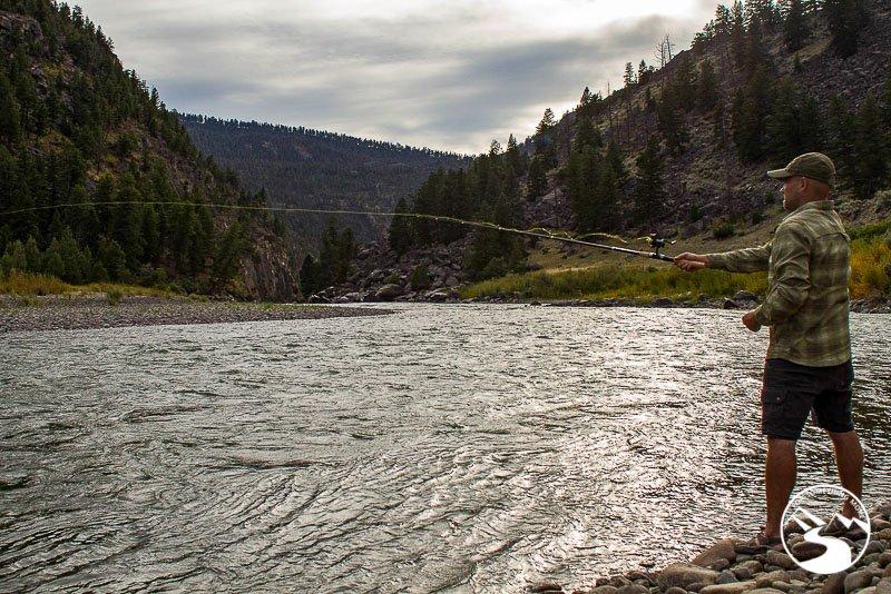 man fishing in the Yellowstone River