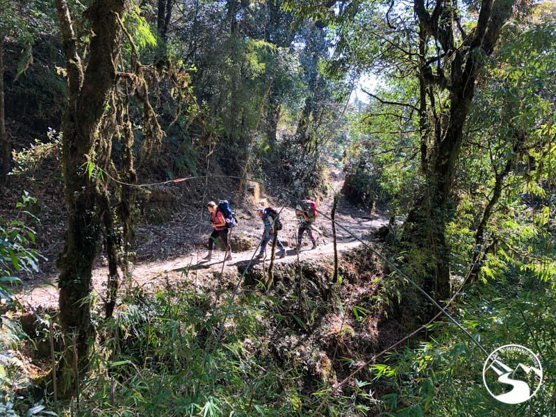 three trekkers on a Ghorepani Poon Hill trek