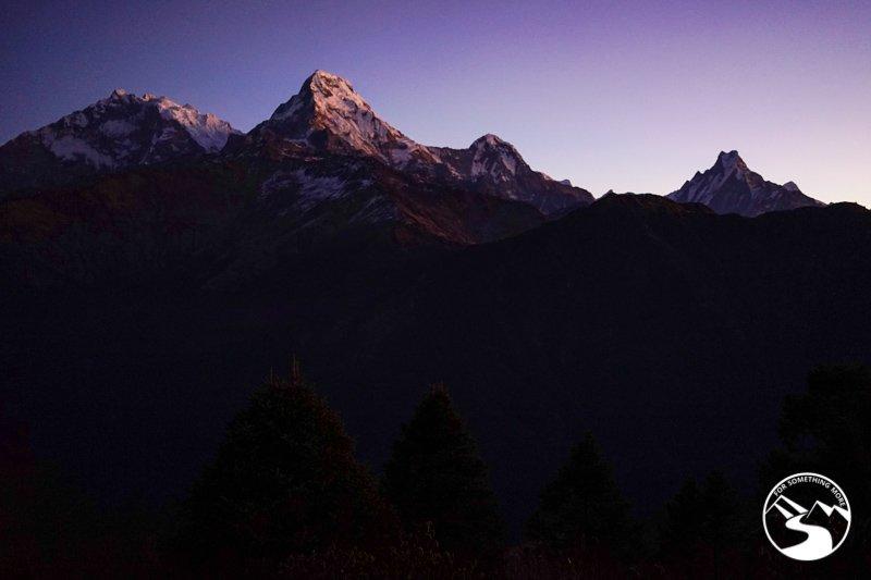 The sun rising on the Annapurna Range