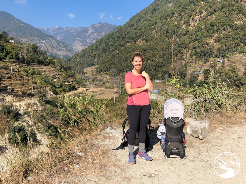 woman taking a trekking break on her Ghorepani Poon Hill Trek