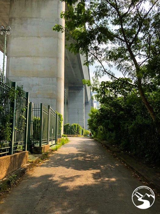 the road under the Tsing Ma Bridge