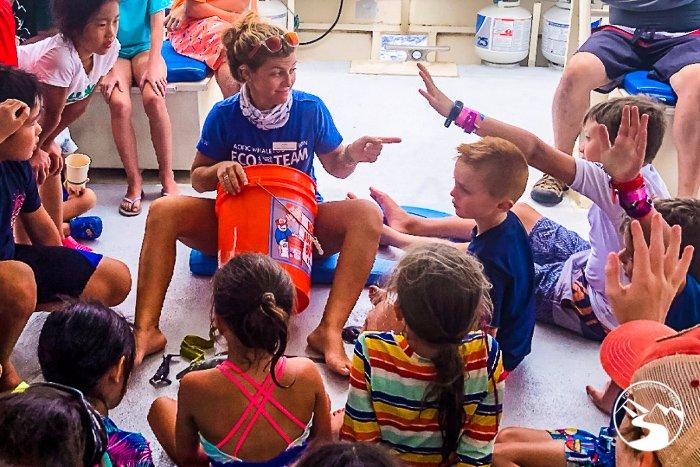 children in an informal marine biology class
