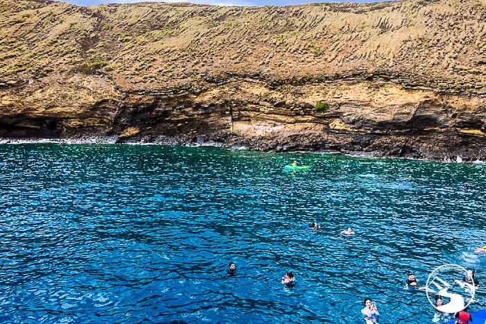 people Snorkeling in the Molokini Crater in Maui Hawaii
