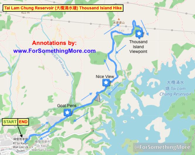 map of Tai Lam Chung Reservoir (大欖涌水塘 千島湖) Thousand Island Hike