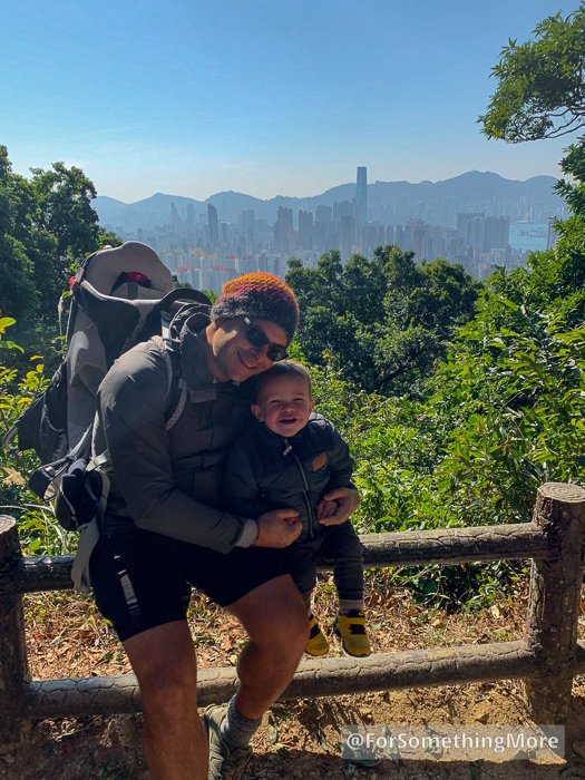 father and son at viewpoint on Eagle's Nest Nature Trail (鷹巢山)