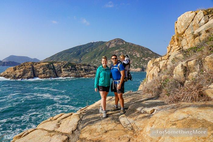 family photo on cliff of Tai Tau Chau (大頭洲) At Shek O (石澳)